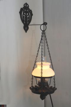 Antique Vintage Chandelier Black Wrought Iron 2 Light Fixture Lamp Milk Glass