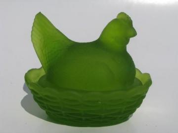 mini hen on nest covered dish, Westmoreland green mist frosted glass
