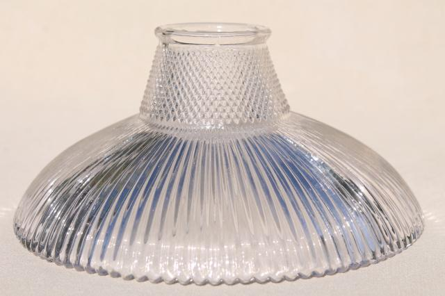 mini holophane type prismatic glass lamp shade for industrial work light or exposed bulb pendant