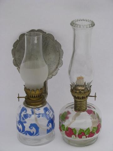 Mini Oil Lamps Lot, Wall Sconce Lantern Light W/ Reflector, Red Strawberry  Lamp