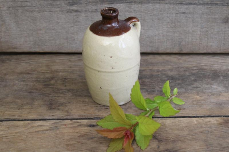 mini pottery jug marked USA, old little brown band stoneware crock bottle