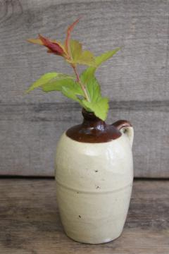 mini pottery jug marked USA, old little brown band stoneware crock bottle<