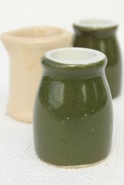 mini restaurant ware creamers, vintage adobe ware, green & white ironstone china
