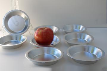 mini tart or pie pans set of eight, vintage aluminum bakeware for individual pies