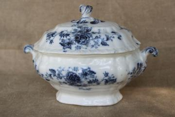 mini tureen covered dish, antique blue & white transferware Booths English ironstone china
