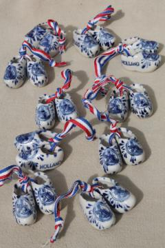 miniature blue & white Delft painted china Dutch shoes clogs, Holland souvenir ornaments