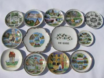 miniature china souvenir plates, state maps & landmarks, vintage souvenirs