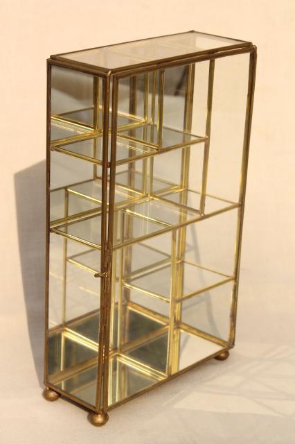 Miniature Curio Cabinet Display Case Vintage Br Mirror Gl Vitrine Box