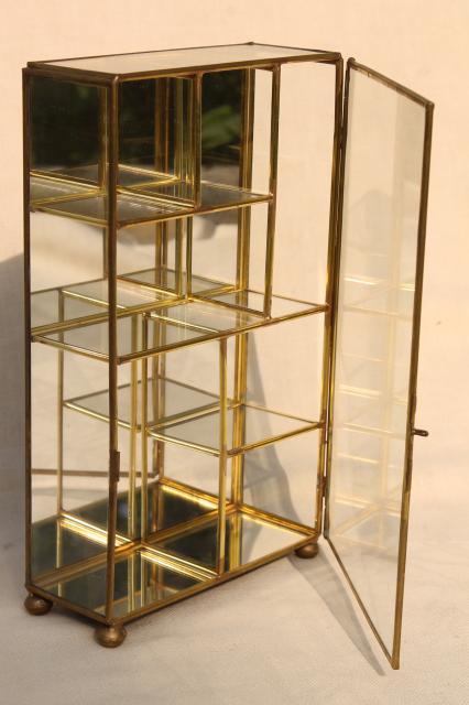 Miniature Curio Cabinet Display Case, Vintage Brass U0026 Mirror Glass Vitrine  Box
