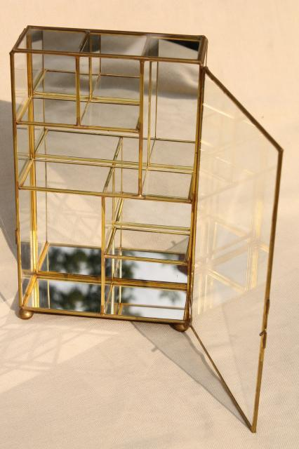 curio cabinet display case, vintage brass & mirror glass vitrine box