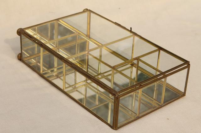 Miniature Curio Cabinet Display Case Vintage Brass