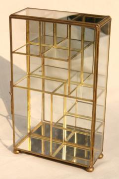 miniature curio cabinet display case, vintage brass & mirror glass vitrine box