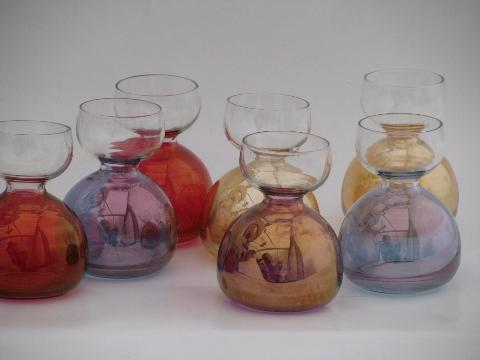 Miniature Flower Vases Or Bulb Forcing Jars Colored Luster Glass