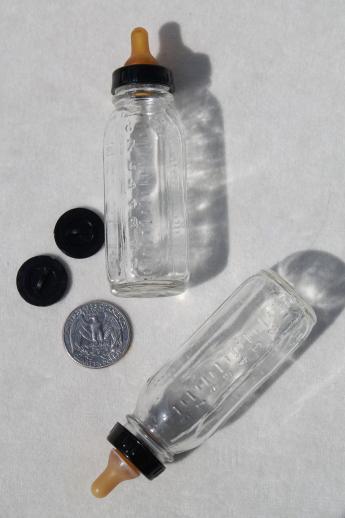 Miniature Glass Baby Bottles W Rubber Nipples Evenflo