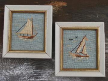 miniature needlepoint pictures, boats on blue in old white wood frames