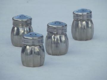 miniature pewter salt & pepper shakers, individual vintage S&P sets