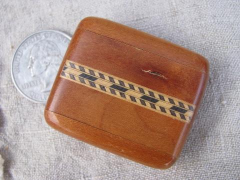 miniature treenware boxes, vintage burl wood, inlaid border woodenware