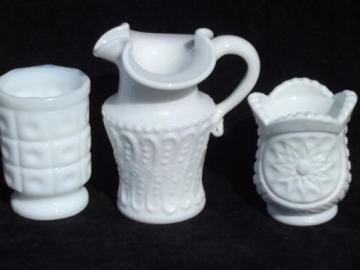 miniature vintage milk glass pieces, lot toothpick or match holders, pitcher