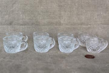 miniature vintage pressed glass punch cups, tiny salt cellars or doll dishes