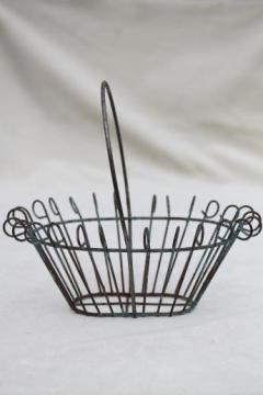 miniature vintage wirework flower basket or fancy wire Easter egg basket w/ old paint