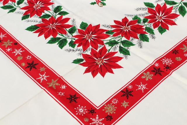 Mint Condition Vintage Holiday Tablecloth U0026 Napkins, Christmas Red U0026 Green  Poinsettias