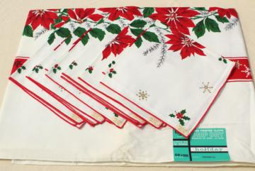 mint condition vintage holiday tablecloth & napkins, Christmas red & green poinsettias