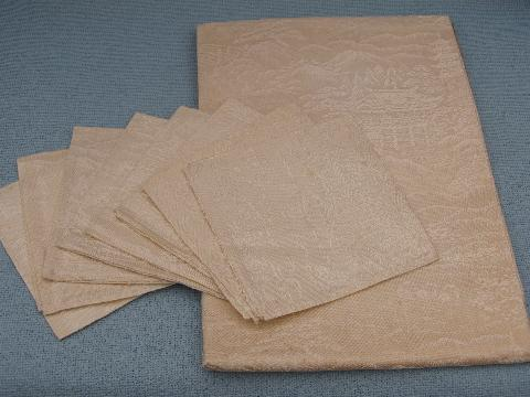 mint condition vintage rayon damask table linens, tablecloth & napkins