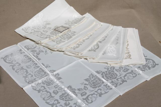 mint condition vintage rayon silk damask dinner napkins, set of 8 w/ original labels