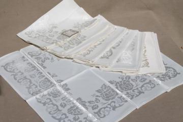 SV monogram Antique french linen damask tablecloth 1920s