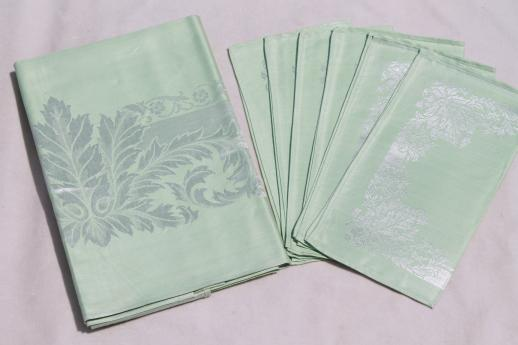 Mint Green Damask Tablecloth U0026 Napkins W/ Original Label, Vintage Table  Linen Set