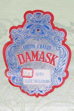 mint green damask tablecloth & napkins w/ original label, vintage table linen set