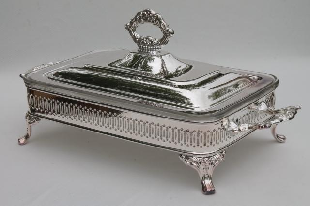 Mint in box oneida silver plate buffet server chafing dish