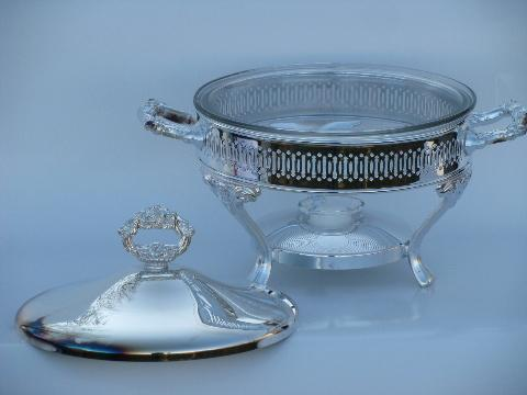 Mint In Box Oneida Silver Plate Chafing Dish Warming