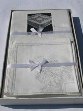 mint in box vintage 1950s snowy white damask table linens, big tablecloth & 12 napkins set