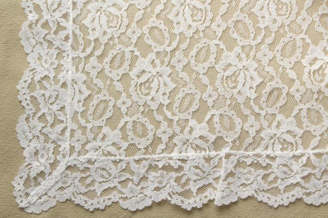 mint in box vintage nylon white lace tablecloth, 60s Parisian Lady Fifth Ave label