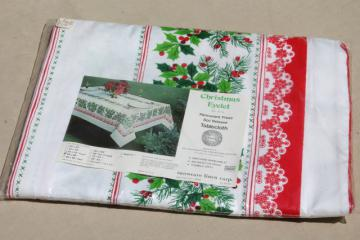 mint in package vintage Christmas print holiday green & red holly tablecloth 60 x 86