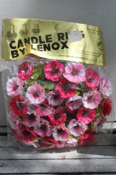 mint in package vintage plastic flowers, retro pillar candle ring, pink!