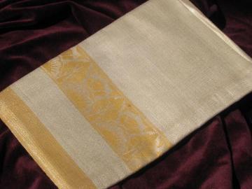 mint w/ labels crisp vintage Irish linen damask tablecloth, flax w/ gold