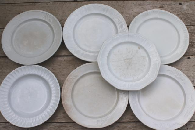 Mismatched Antique 1860s 1880s Vintage Ironstone China Dinner Plates W Embossed Borders