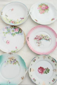 mismatched antique vintage china plates w/ different patterns, flowers &  bouquets