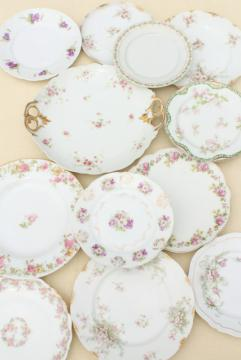 mismatched antique vintage china plates w/ different patterns, pink roses florals
