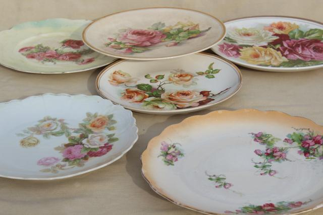 Mismatched Antique Vintage China Plates W Shabby Chic