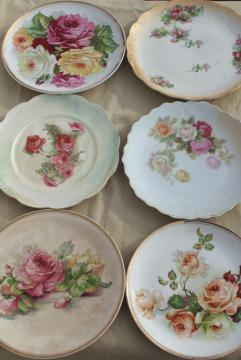 mismatched antique vintage china plates w/ shabby chic roses floral painted flowers
