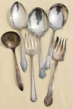 mismatched antique vintage silver plate flatware serving pieces lot, berry spoons etc.