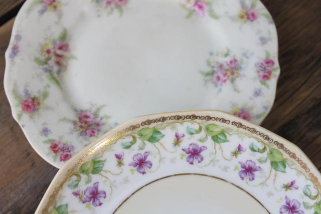 mismatched old roses painted cake plates & serving trays, vintage tea table china