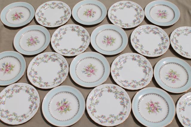 mismatched vintage china dessert / wedding cake plates pretty florals tiffany blue band & mismatched vintage china dessert / wedding cake plates pretty ...