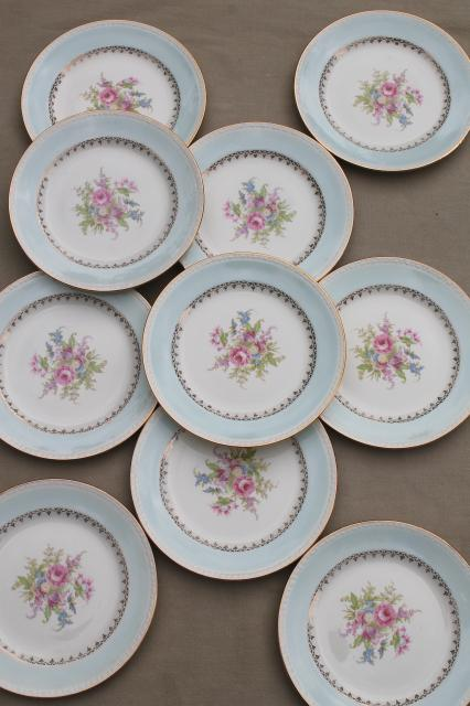 mismatched vintage china dessert / wedding cake plates pretty florals tiffany blue band : tiffany cake plate - pezcame.com