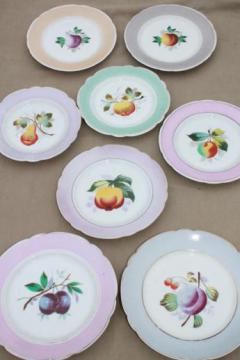 mismatched vintage china plates with hand-painted fruit, pretty pastel colors