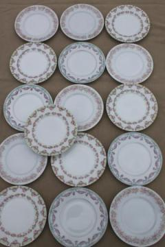 mismatched vintage roses floral china dessert plates, tea party pretty!