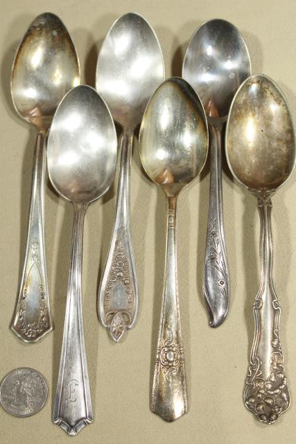 mismatched vintage silverware, 24 different patterns silver plate soup spoons, flatware lot